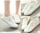 Women Girls Canvas Sneakers Lace Up Casual Low Top Plimsoll New Shoes sz 4.5-8