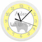 GRAY AND YELLOW  ELEPHANT NURSERY WALL CLOCK PERSONALIZED BABY SHOWER GIFT