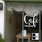 CAFE & TAKEAWAY VINYL WINDOW DECAL STICKER. Option for perosnalised word name