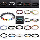 Various Fashion Men Spot Natural Lava Stone Silver Buddha Beaded Charm Bracelet