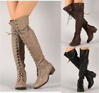 Breckelle Alabama12 beige thigh high lace up military boots
