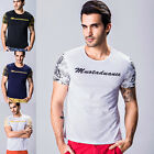 New Top Stylish Men's Round Neck T Shirt Slim Fit Tops Short Sleeve Summer Wear