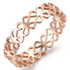 IP Rose Gold Stainless Steel Luckly Four Leaf Clover Finger Ring For Wife gifts