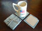 Extra Large Handcrafted Upcycled Antique Slate Rustic Drink Coasters Set Big