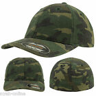 NEW CAMOUFLAGE FITTED CAP PLAIN FLEXFIT BASEBALL GOLF ARMY PEAK HAT S-M-L-XL