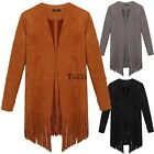ACEVOG Women Casual Cardigan Long Sleeve Solid Tassel Long Coat Outwear TXWD