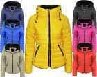 Ladies Womens Quilted Padded Puffer Thick Long Sleeves Bubble Jacket Hooded Coat