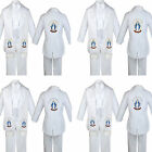 Boy Baby Christening White Tail Tuxedo Color Embroidery Mary Maria Stole Sm-7