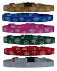 """CHRISTMAS Red pink green   """"Snowflakes  """" chihuahua dog puppy collar & or lead"""