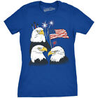 Womens Three Eagles Independence Day American Flag 4th of July T shirt (Royal Bl