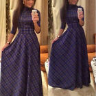 Vogue Women Long Sleeve High Collar Plaid Maxi Dress Party Bandage Long Dress