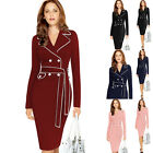 Fashion Women's Retro Long Sleeve Lapel Collar Bodycon Pencil Dress Button New