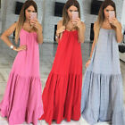 Casual Women Ladies Sexy Spaghetti Strap Long Maxi Dress Boho Baggy Party Dress