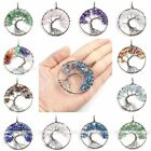 Chakra Tree Of Life Gemstone Chip Beads Wire Wrap Healing Pendant for Necklace