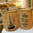 Zakka Style Canvas Organizer Basket Storage Bin Paris Keep Calm Foldable Bag