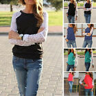 UK S-2XL Womens Lace Floral Hollow Splice Long Sleeve Sweatshirts Blouse Tops