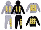 Boys Girls Kids Emoji Tracksuit Hoodie Sweat Top Pant Trousers Jumper Emoji XMAS
