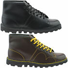 New Mens Boys Black Wine Red Leather Grafters Origional Monkey Boots UK 3 - 12