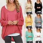 Korean Women Plus Size Long Sleeve Pullover Loose Baggy Casual Top Jumper sexy