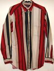 RED BLACK TAUPE Striped Cotton SHIRT Size 16/34 Large