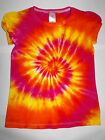 GIRLS PINK ORANGE & YELLOW TIE DYE DYED HIPPY TOP CUTE SLEEVES SIZES 1 2 3 4 5 6