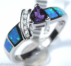 Amethyst and Blue Fire Opal Inlay Solid 925 Sterling Silver Ring size 8 or 9