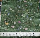 """WATERLILLIES & BUTTERFLIES on GREEN Quilting Cotton Fabric 45"""" wide Units $8 yd"""