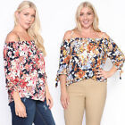 TheMogan Women's Off The Shoulder Floral Print Blouse Tie 3/4 Sleeve Chiffon Top