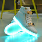 LED Couples Men Women High Light Up Trainer Lace Up Flat Shoes Sneakers Luminous