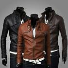 Men\'s Fashion Stand Collar Slim Winter Motorcycle PU Leather Jacket Coat Outwear