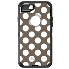 CUSTOM OtterBox Defender for iPhone 6 6S 7 PLUS White & Taupe Polka Dots