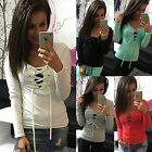Women's Casual Placket Solid Color Long Sleeve T-Shirt Tops Blouse Shirt S~XL