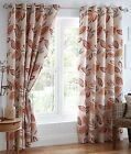 Leaves Leaf Trail Cotton Eyelet Ring Top Lined Curtains, Terracotta Red Orange