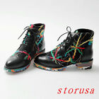 Original Women Lady Scrawl Lace Up Ankle Boots Low Heel Lace Up Casual Shoes New