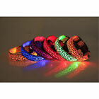 1X Pet LED Light Flashing Collar Safety Nylon Leopard Collars With Buckle JYL