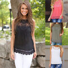 Womens Loose Casual Chiffon Sleeveless Lace Shirt Tops Blouse Ladies Tops FM