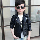 Turn-down Collar Kids Coats And Jackets Boys PU Leather Jacket Children Outwears