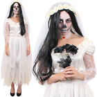 IVORY GHOST BRIDE COSTUME RIPPED HALLOWEEN FANCY DRESS VEIL AND CHOKER DEAD