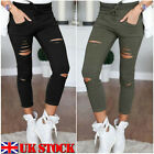 Womens Stretch Faded Ripped Knee Slim Fit Skinny Pants Jeans Trousers UK 8-14