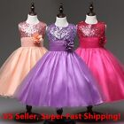 NWT Wedding Sequined Flower Girls Dress Tutu Formal Girl's Evening Dress