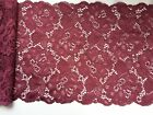 """Laces Galore"" ~ Burgundy Wine  Soft Stretch Scalloped Lace 17cm/6.75"""