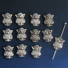 20/50/100/300x Antique Silver Owls Bracelet Spacer Bead Findings Hole 1.2mm
