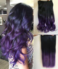 Balayage Ombre Clip in Hair Extensions One Piece Curly Wavy Black Purple Violet