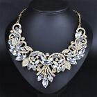 Hipster Rhinestone Crystal Chunky Statement Bib Pendant Chain Choker Necklace