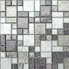 Black & Silver Hong Kong Foil Glass Mosaic Tiles Mix Bathroom Bath CHOICE MT0044