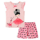 Pyjamas Baby Girls Summer Short 2 pc Pjs Set (sz 0-2) Soft Pink Girl with Cat Sz