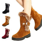 Cute Ladies Womens Girls Mid Calf Winter Fur Snow Boots Rhinestone Suede Shoes