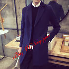 Mens #dd Youth Wool Blend Jacket Trench Long Coat Lapel 3 Button Blazers Size