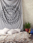 Indian Elephant Bedspread Hippie Mandala Tapestry Twin Black White Wall Hanging