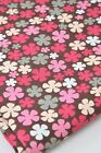 Vintage Retro Cotton Canvas Fabric Flowers Pink Red Grey Blossoms on Brown